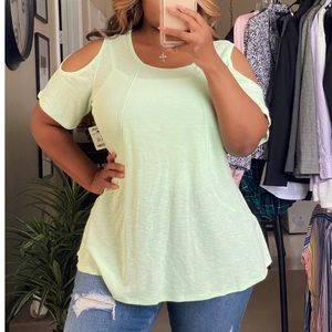Calvin Klein Green Cold Shoulder Blouse